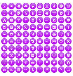 100 kids icons set purple vector