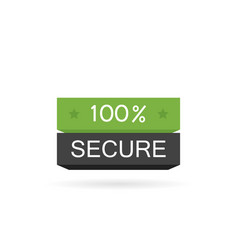 100 secure button badge for commerce website vector