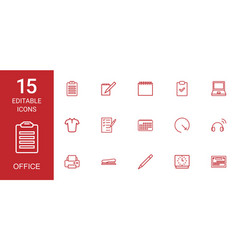 15 office icons vector image