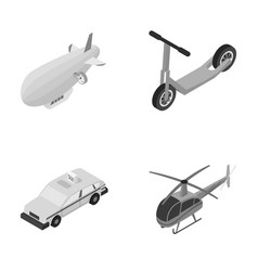 A dirigible a children s scooter a taxi a vector