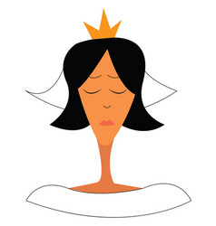 a woman wearing a golden tiara and in her vector image