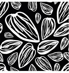 almonds pattern on black background vector image