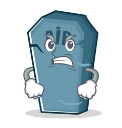 Angry tombstone character cartoon object vector