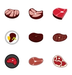 Beef icons set flat style vector