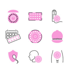 birth control pills icon collection set vector image