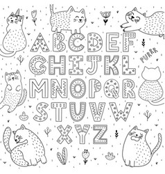 black and white alphabet with funny cats abc vector image
