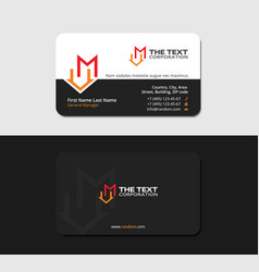 Black business card with letter m and house icon vector