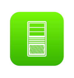 black computer system unit icon digital green vector image