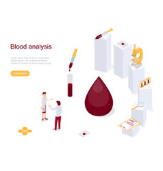 Blood test analysis concept card landing web page vector