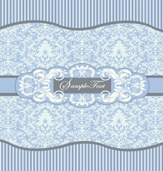 blue floral damask invitation card vector image