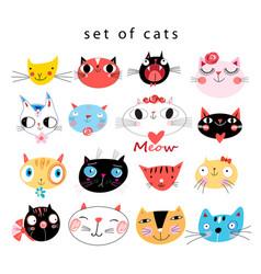 Bright set funny portraits cats vector