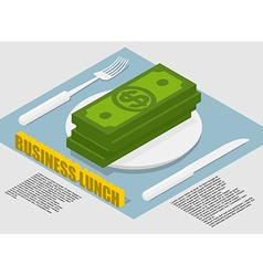 Business lunch infographics on food costs spending vector