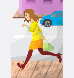 Businesswoman late for work vector