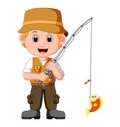 Cartoon man fishing vector