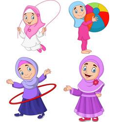 Cartoon muslim girls with different hobbies vector