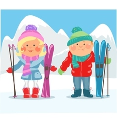 Cartoon people - Couple with skis vector