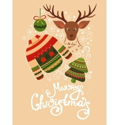 Christmas greeting card with lettering vector image