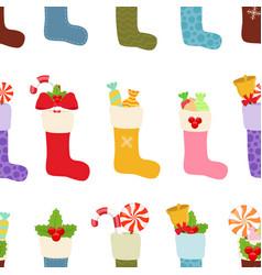 christmas stockings socks seamless pattern vector image