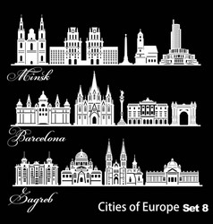 City in europe - barcelona zagreb minsk vector