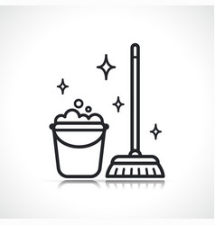 Cleaning broom and bucket icon vector