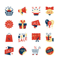 clearance sale colorful flat style icon set vector image