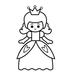 Coloring book princess vector