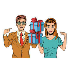 Couple avatar with gift box vector