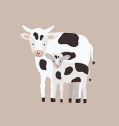 cow with calf isolated on white background family vector image