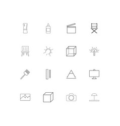 creative process and design simple linear icons vector image