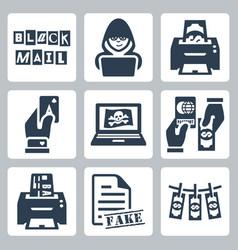 criminal activity icons set blackmail hacking vector image