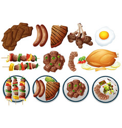 different types of grilled food vector image