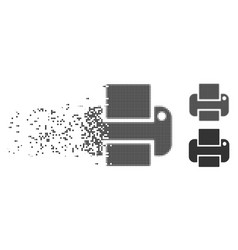 Disappearing pixel halftone printer icon vector
