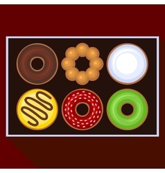 Donuts Collection Icons Set in Box vector
