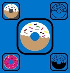 Doughnut icons set vector