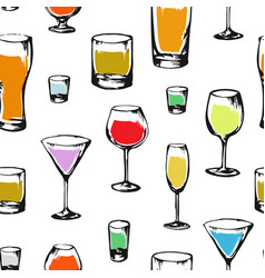 drawing pattern with alcoholic drinks vector image