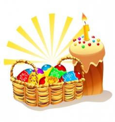Easter cake and basket vector image