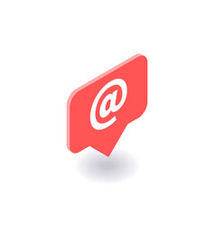 email icon symbol in flat isometric 3d vector image