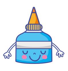 Emoiji cute happy glue bottle vector