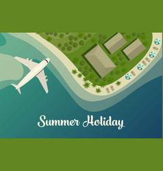 exotic island with beach and bungalow airplane vector image