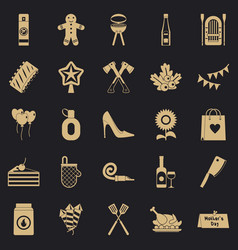 Family weekend icons set simple style vector