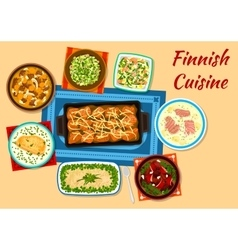 Finnish cuisine fish and meat dinner dishes icon vector