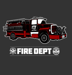 Fire truck - fire departament emblem vector