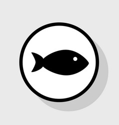 fish sign flat black icon in vector image
