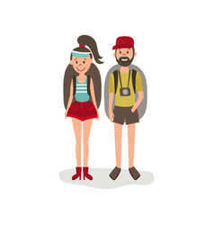 flat man woman hiking tourist vector image