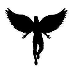 Flying man angel silhouette mythology symbol vector