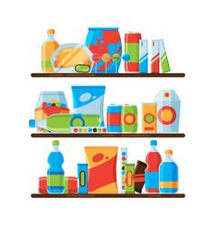food shelves snack crisp cold soda drinks in vector image