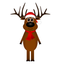 funny reindeer in a scarf for christmas smiling vector image