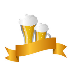glass beers alcohol vector image