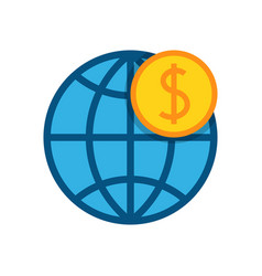 Globe with dollar icon vector