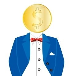 Golden coin instead of head vector image vector image